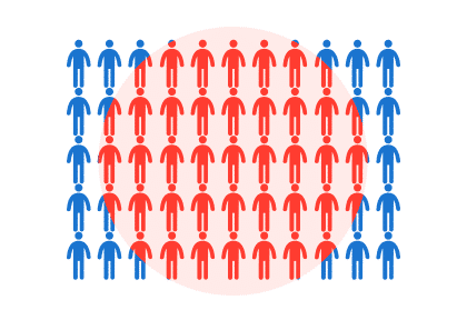 A grid of people with a growing circle in the centre graphic