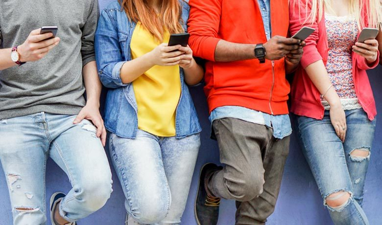 people on mobile phones for ADA telecommunications