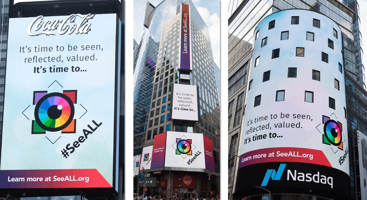 Image of the #SeeALL billboard advertisements in Time Square, New York, containing the #SeeALL hashtag and colorful eyeball icon