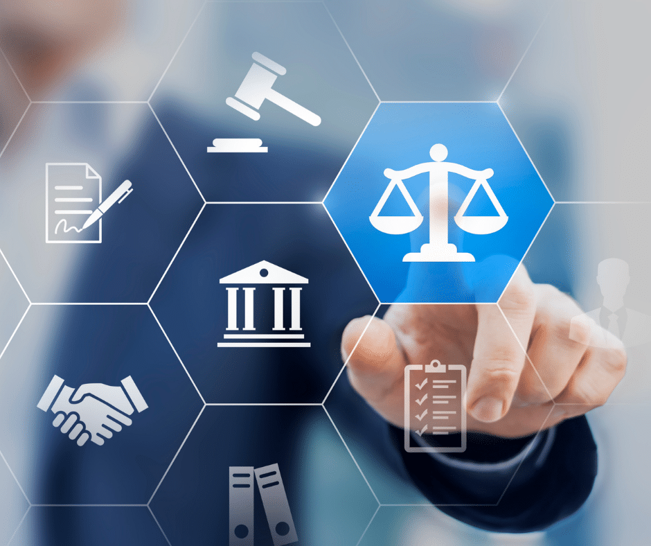 abstract image of man clicking on icon of scales of justice
